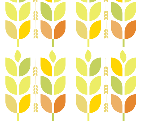Mod Autumn Leaves and Grain fabric by wren_leyland on Spoonflower - custom fabric