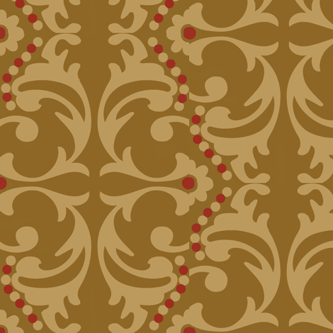 indian spice / antique gold damask