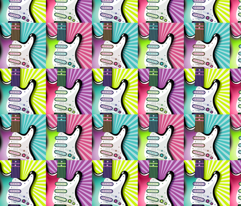 Girls Rock guitar pattern fabric by risarocksit on Spoonflower - custom fabric