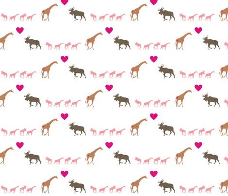 Giraffe Moose Love + Kids fabric by smuk on Spoonflower - custom fabric