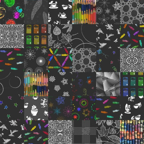 black-and-rainbow sampler