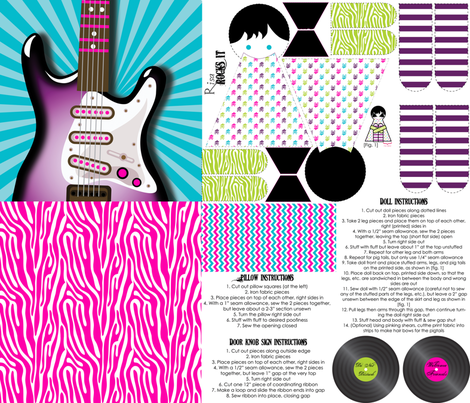 Girls Rock Electric Guitar Pillow & Doll & Do Not Disturb Sign Sewing Kit fabric by risarocksit on Spoonflower - custom fabric