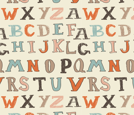 typed alphabet seamless pattern fabric by anastasiia-ku on Spoonflower - custom fabric