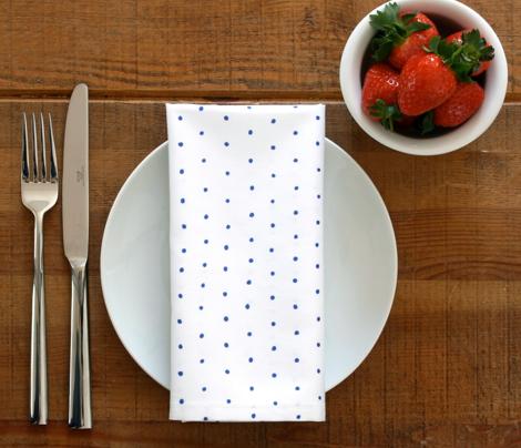 Blue Polka Dots on White