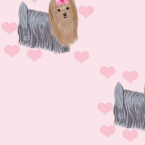 Yorkie - Pink Hearts Diagonal
