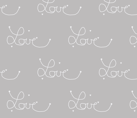 love warm grey fabric by ninaribena on Spoonflower - custom fabric