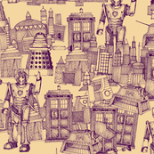 Doctor Who Toile de Jouy / Walking Doodle (vintage royal)
