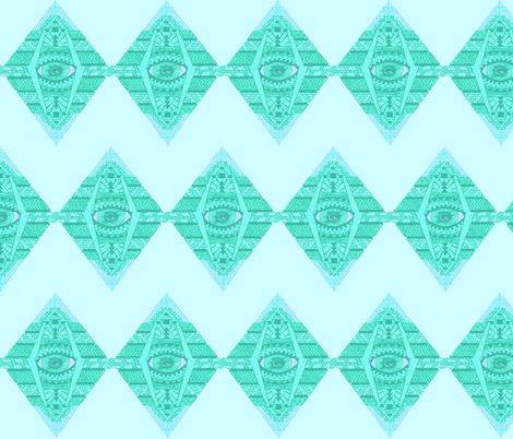 MAYAN SEA GREEN ZIG-ZAG fabric by bluevelvet on Spoonflower - custom fabric