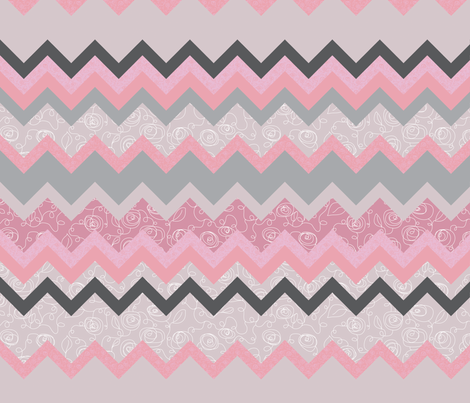 Zig Zag Scribble Floral fabric by ghennah on Spoonflower - custom fabric