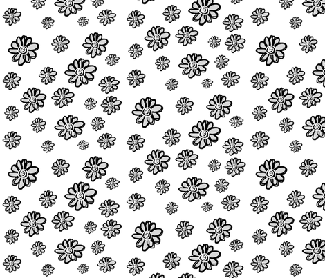 Black & White Flowers fabric by arttreedesigns on Spoonflower - custom fabric