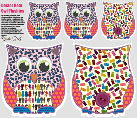 Doctor Hoot Owl Plushies (girly) fabric by scrummy on Spoonflower - custom fabric