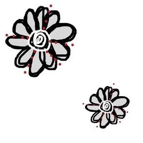 Swirly Flowers With Red Dots