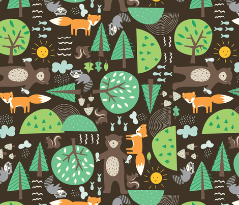 critters_brown fabric by stacyiesthsu on Spoonflower - custom fabric
