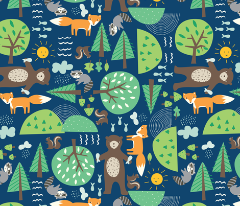 critters_blue fabric by stacyiesthsu on Spoonflower - custom fabric