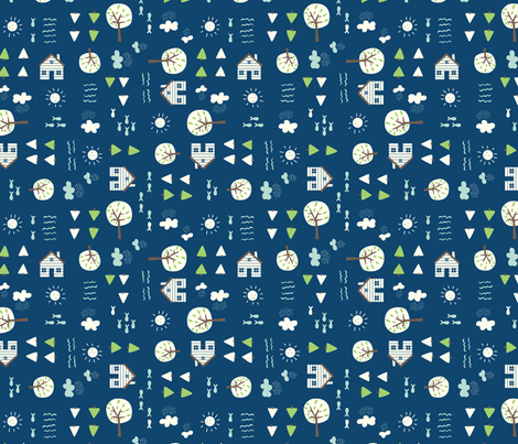 The_Cabin_blue fabric by stacyiesthsu on Spoonflower - custom fabric