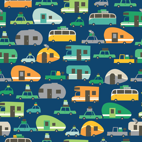 Traveling_blue fabric by stacyiesthsu on Spoonflower - custom fabric