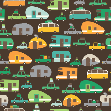 Traveling_brown fabric by stacyiesthsu on Spoonflower - custom fabric