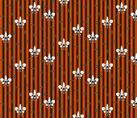 Halloween_Fleur_de_Lis in pumpkin fabric by glimmericks on Spoonflower - custom fabric