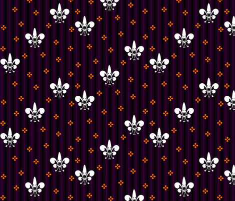 Halloween Fleur de Lis in ghostly ghoul fabric by glimmericks on Spoonflower - custom fabric