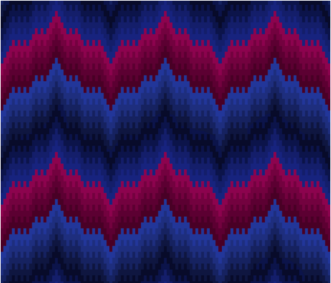 Bargello-work Flame-stitch Chevron Cheater Quilt