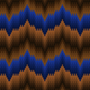 Bargello-work Flame-stitch Chevron Cheater Quilt in Blues and Dark Golds