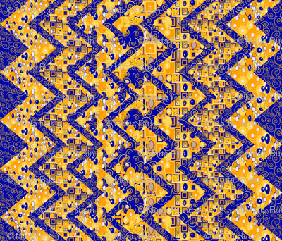 Klimt-esque zig zag cheater quilt or table cloth