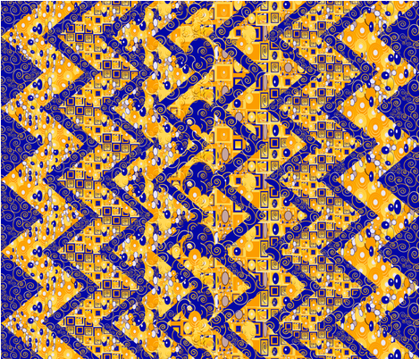 Klimt-esque zig zag cheater quilt or table cloth fabric by kociara on Spoonflower - custom fabric