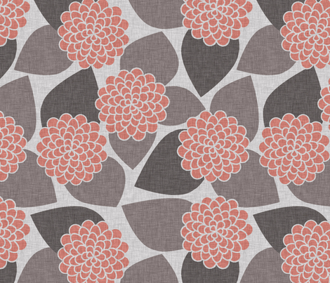 DAHLIA PEACH fabric by glorydaze on Spoonflower - custom fabric