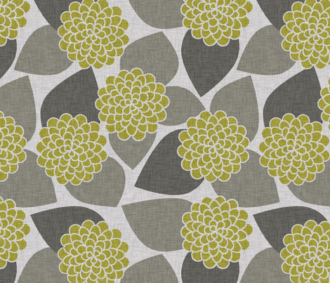 DAHLIA GREEN fabric by glorydaze on Spoonflower - custom fabric