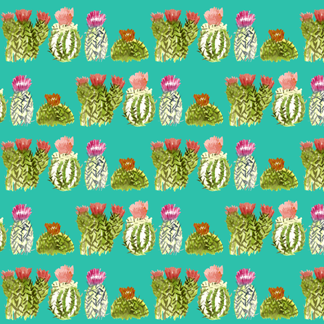 tealcactusfamily2 fabric by sára_emami on Spoonflower - custom fabric