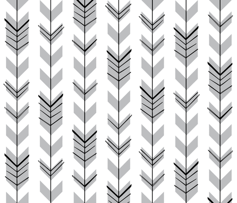 Hallow Fields arrows charcoal fabric by kennerroad on Spoonflower - custom fabric