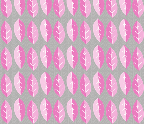 pink_and_grey_leaves fabric by studio30 on Spoonflower - custom fabric