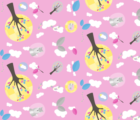 multi_fox_and_trees_pink fabric by wendyg on Spoonflower - custom fabric