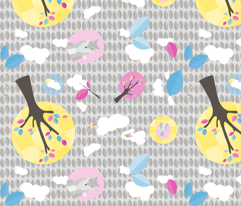 multi_fox_and_trees_grey fabric by studio30 on Spoonflower - custom fabric