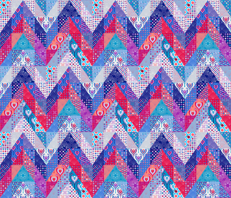 tulips chevron cheater quilt fabric by coggon_(roz_robinson) on Spoonflower - custom fabric