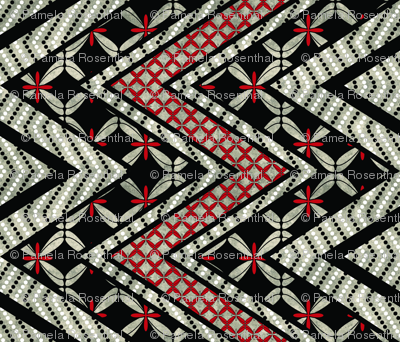 Floral and Dotted Zig Zag Cheater Quilt