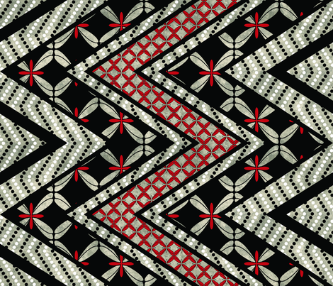 Floral and Dotted Zig Zag Cheater Quilt fabric by pamelina on Spoonflower - custom fabric