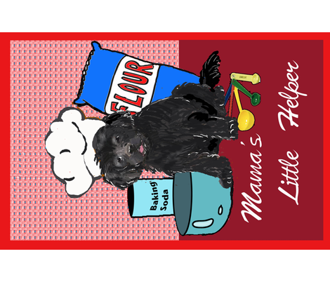 Newfy Puppy tea towel fabric