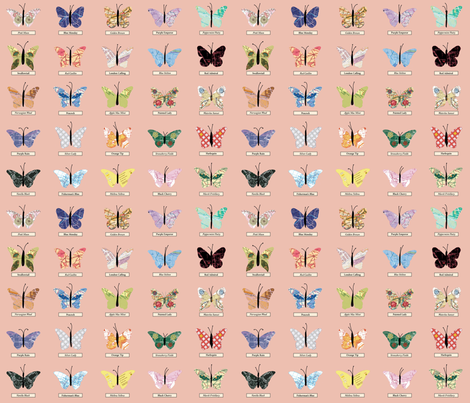 small_butterfly_peach fabric by peppermintpatty on Spoonflower - custom fabric