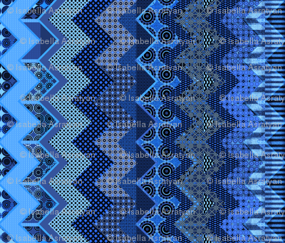 blue quilt in the style of a  zig-zag