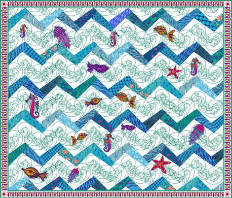 Sea_creatures_zigzag_cheater_quilt fabric by kirpa on Spoonflower - custom fabric