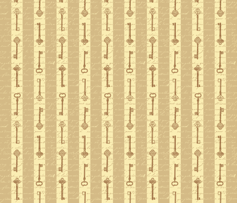 steampunk stripes with keys fabric by risarocksit on Spoonflower - custom fabric