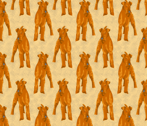 Posing Irish terriers - tan fabric by rusticcorgi on Spoonflower - custom fabric