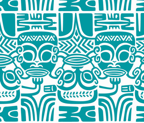 Tahitian Tikis 1 fabric by muhlenkott on Spoonflower - custom fabric
