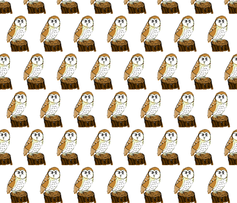 PennyDog Illustration - Barn Owl fabric by pennydog on Spoonflower - custom fabric