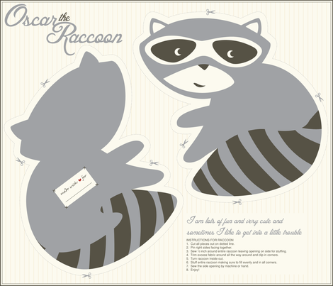 Oscar_the_Raccoon fabric by stacyiesthsu on Spoonflower - custom fabric