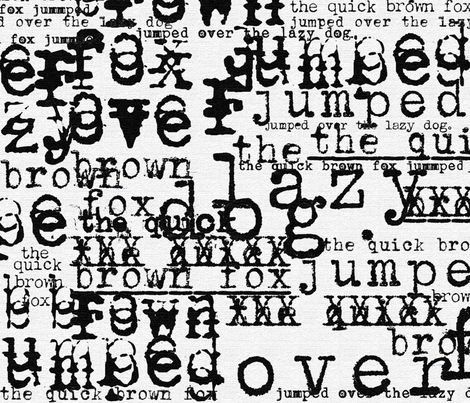 Typewriter ~ typewriters (black & white) - fox1 fabric by wordfabric on Spoonflower - custom fabric