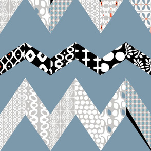MOD CHEVRON QUILT #44 (VERMILLION, SMOKY BLUE, DOVE GREY, BLACK & WHITE)