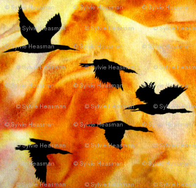 Cormorants at Sunset by Sylvie_ Art on Fabric