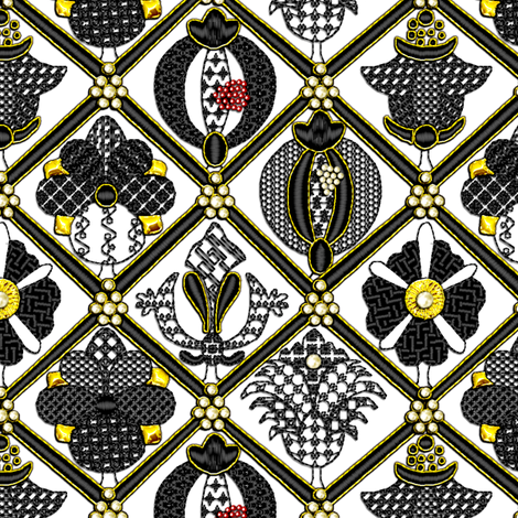 Elizabethan Blackwork with Goldwork and Pearls fabric by bonnie_phantasm on Spoonflower - custom fabric